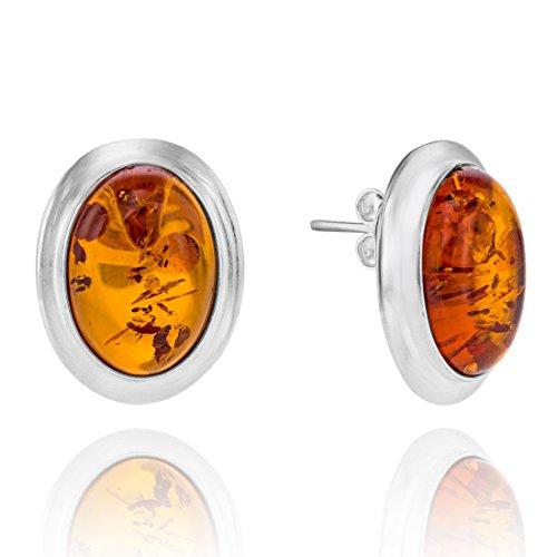 Copal Damen Ohrstecker Bernstein Silber 925 Natur Braun Oval Geschenkbox Originelle Geschenke für Frauen