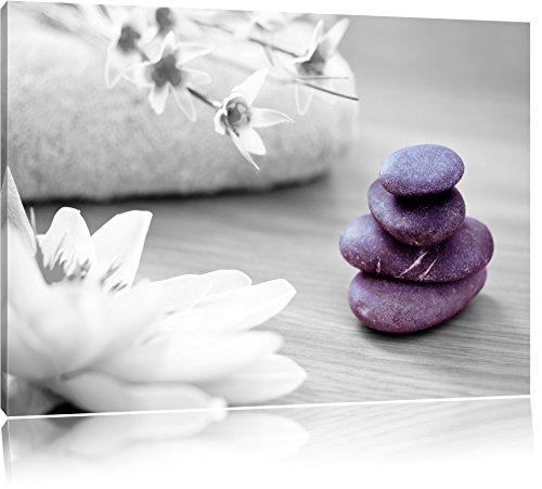 Lotusblüte auf Zen Stein schwarz/weiß Format: 80x60 auf Leinwand, XXL riesige Bilder fertig...