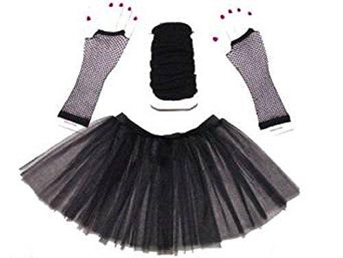 Mesdames 3 Layer Tutu Set, chauffe-jambes & Fishnet gants Taille 36-44 Noir