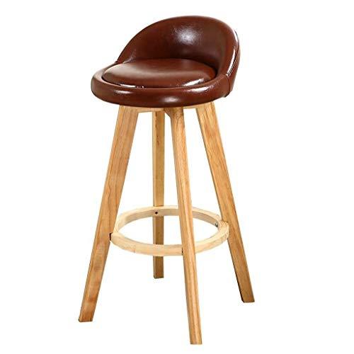 Jbymyy Drehbare Barhocker Nordic Freizeit Massivholz Esszimmer Barhocker Kreative Einfache Moderne Barhocker Komfortable Rückenlehne Hoher Hocker Stuhl Home (Color : Brown) - Moderne Hohe Rückenlehne, Barhocker