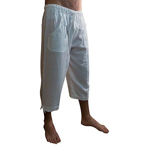 Sommer Dreiviertellange Hosen, elastischer Taillenbund, aus Baumwolle, ethisch gehandelt - aus Ecuador für Tumia LAC gefertigt - leichtes, kühles Material Weiß