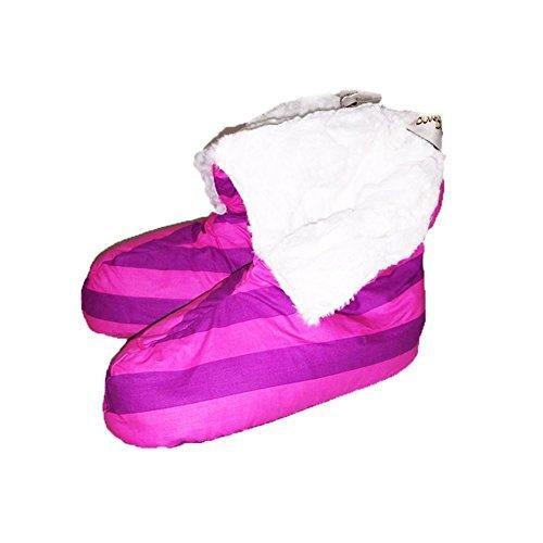 Violet / couette bordée de fourrure rose bande canards bottes pantoufles purple