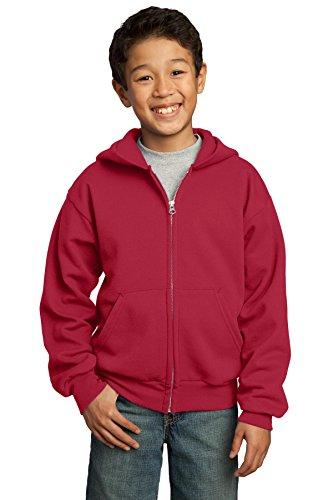 Port & Company® - Youth Core Fleece Full-Zip Hooded Sweatshirt. PC90YZH Red XL - Youth Full Zip Hoody