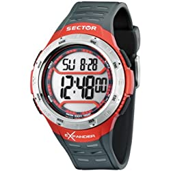 Sector Men's Digital Watch with LCD Dial Digital Display and Black PU Strap R3251172006