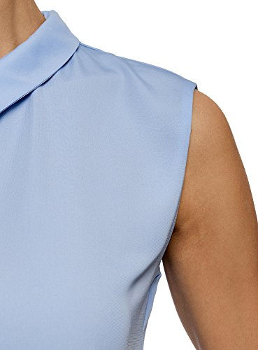 oodji Ultra Damen Ärmellose Bluse Basic mit Kragen Blau (7001N)