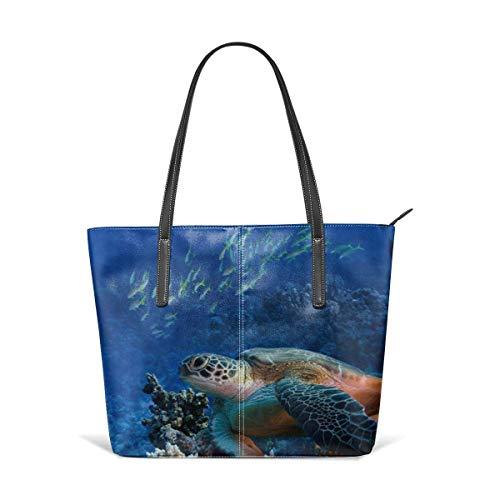 Animal Fish Colorful Coral Reefs Satchel Purses and Handbags Handtaschen Leather Tote Bags Satchel Top Shoulder Leisure Handbags Handtaschen Office Briefcase Tote -