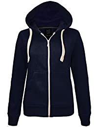 5802984c21b7b NEW LADIES WOMENS ZIP UP PLAIN FLEECE HOODIE JACKET SIZES XS S M L XL (18