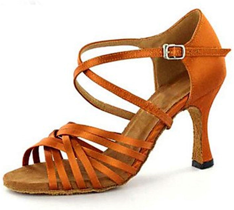Geheimnisvolle Direct @ Damen Dance Schuhe Satin Latin Jazz Swing Schuhe Salsa Sandalen Heels Absatz Praxis Anfängerö