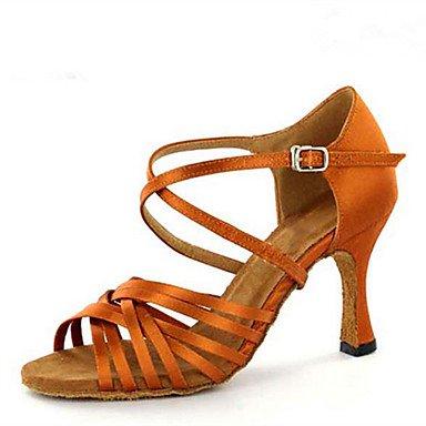 Silence @ Chaussures de danse pour femme en satin Latin Jazz Swing Chaussures Salsa talons Sandales Talon Practise débutant Professional marron