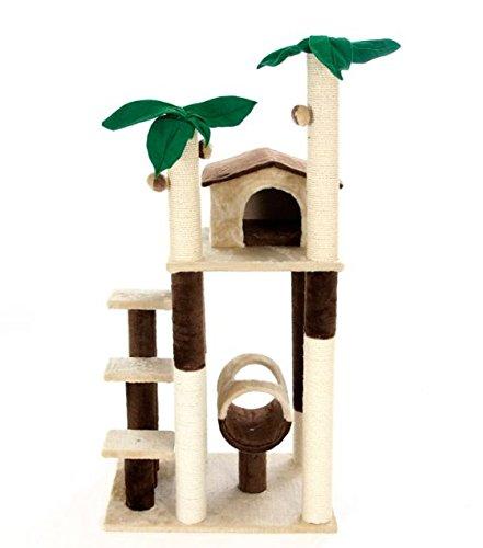 5Level Palm Villa Katze Baum–stabil–Verdeckt in weichem Plüsch mit Little den mit 2Öffnungen, 3Plattformen und eine große spielen Tunnel–Play, Scratch und Schlummerfunktion (Zwei-level-cat Baum)