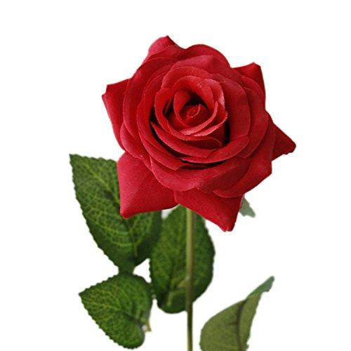 LAMEIDA 5PCS Künstlich Blumen Künstliche Rose Home Decoration Hochzeit Party DIY Ornament Plastikblumen Seiden Blumen Wohnaccessoires (Rot-43*7cm)