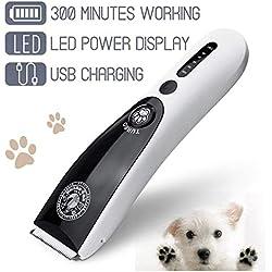 Anera Tondeuse à Cheveux Animaux de Compagnie, 2000 mAh au Lithium LED à écran USB Rechargeables, sans FL à Faible Bruit Rasoir Machine de Coupe de Cheveux Kit pour Chiens et Chats