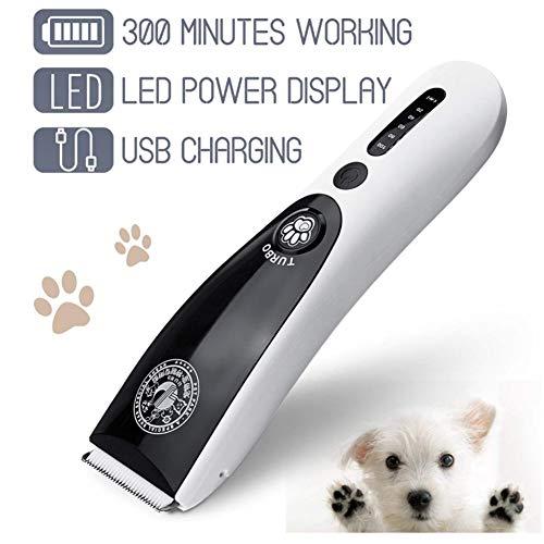 Anera Electric Pet Tagliaunghie, Dog Clippers 2000 mAh Batteria Al litio Ricaricabile Tramite USB, Cordless a Basso Rumore Capelli Rasoio Haircut Macchina Pet Hair trimmer kit per Cani e Gatti