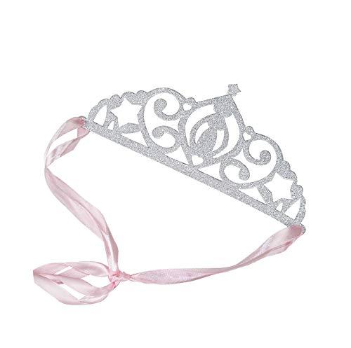 5 Tiaras/Kronen Princess in Silber-Glitzer aus Papier - Geburtstags-Deko/Kinder-Geburtstag Prinzessin/JGA