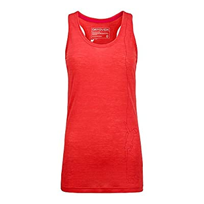 Ortovox Vertical Print Merino Cool Tank Top Women - hot coral