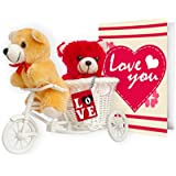 TIED RIBBONS Valentine Gifts for Husband Wife Girlfriend Boyfriend Girls Boys - Valentines Combo Teddy with Keychain and Greeting Card