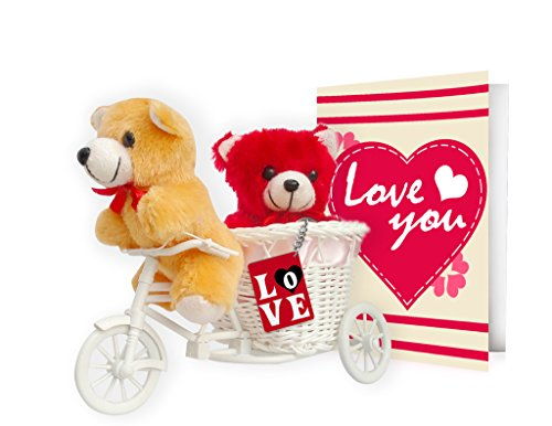 TiedRibbons®Birthday Gifts for Girlfriend, Wife Love you 2 Teddy with cycle,Keychain and Greeting Card