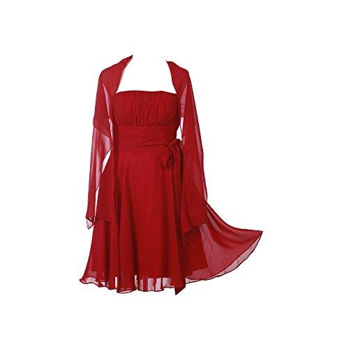 ROBLORA, châle en mousseline, étole, écharpe pour robe de soirée, de différentes couleurs, taille 35 x 170 cm Rouge