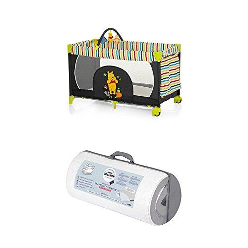 Reisepaket Hauck Kinderreisebett Dream N Play Go Disney, schwarz-bunt und Julius Zöllner Reisebettmatratze Travelsoft Premium, 60 x 120 cm Tigger Sleeper
