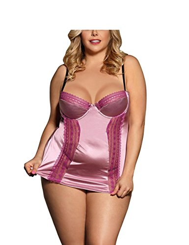Lite Kostüm Hellen - ZJG Babydoll-Set für Damen Übergröße Spitze Dessous Unterwäsche Satin Gurt Nachtwäsche Helles Lila, Light Purple