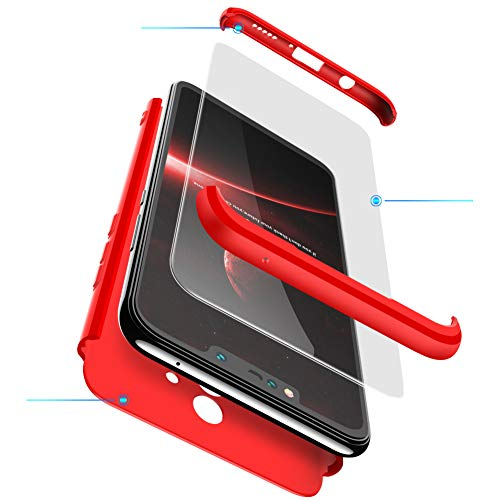 xinyunew Funda Compatible con Xiaomi Mi MAX 2,360 Grados Protección Case + Pantalla de Cristal Templado,3 in 1 Anti-Arañazos Carcasa Case Caso Fundas teléfonos Móviles para - Rojo