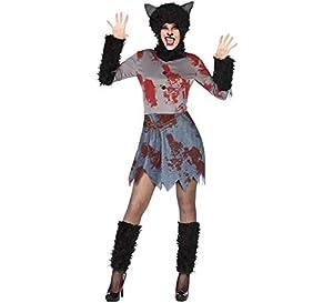 Atosa-54837 Atosa-54837-Disfraz Loba Sangriento para mujer adulto-talla XL negro, color (54837)
