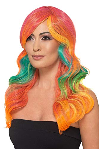 Smiffy's 48911 Fashion - Peluca de arcoíris, ondulada, larga, multicolor, talla única
