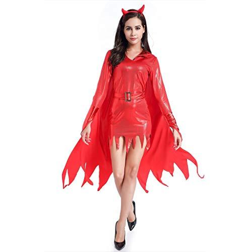 LOPILY Kostüme Damen Hexenkostüme Halloween mit Hornschmuck Rote Hexe Faschingskostüme Damen Karneval Kleidung Teufel Kostüme Gruselige Erwachsenenkostüme (Kleid+Umhang+Horn+Cane) (Rot, - Kostüm Kleid Schwarz Last Minute