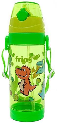fringoo 550ml Kinder Stroh Getränke Wasser Flasche mit Griff Trageriemen/Flip Top, BPA-frei Eastman Tritan, Dinosaurier, 8,66X 3,46x 2.13cm -