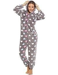 Camille - Damen Schlafanzug-Overall mit Buntem Herzmuster - Sehr weich - Grau