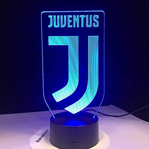 SSYYJJ 3D LED Illusion Light luci notturne ottici lampada da tavolo Atmosfera Decorazione regali di compleanno per bambini Calcio Juventus Club Nuovo logo Animali per bambini Papà Amici Dropsh