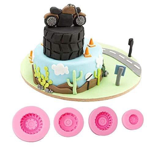 Gluckliy 4 Pcs Set Reifen Radform Silikon Backform Fondant Kuchen Dekorieren Schokolade Süßigkeiten Seife Form DIY Backen Zubehör