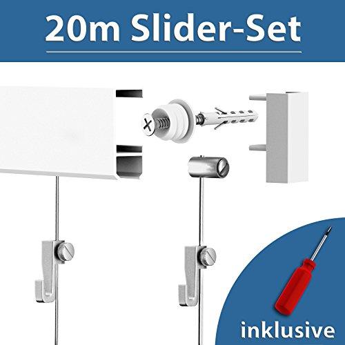 20m Bilderschiene Galerieschiene Bilderleiste Slider - Set 20Meter weiß