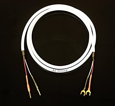 Chord C-Screen Speaker Cable 6 Metre Single Length Terminated With 2x 4mm Chord Banana Plugs Amplifier End To 2x Chord Wide Spade Connectors Speaker End.