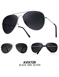 Boys, Girls, Kids, Childrens, Silver Metal Aviator Sunglasses Black Lens, Unisex Full UV 400, CE Marked
