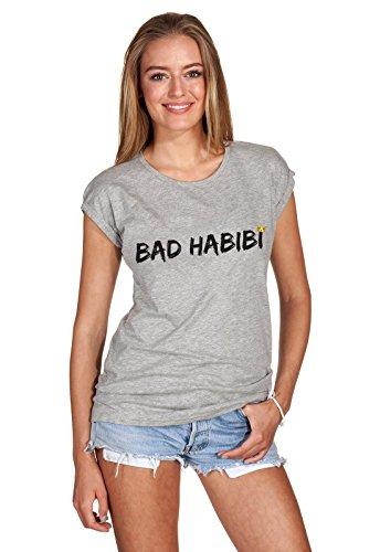 T-Shirt Oberteil Damen Girl Bad Habibi Habit Statement Print Aufdruck Böses Mädchen Hellgrau