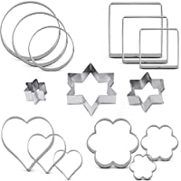Aoktech Basic Cookie Cutter Set Stainless Steel Cake Cutter Bread Fondant Biscuit Cutters Star Heart Round Flower Square Shape 15 Pieces