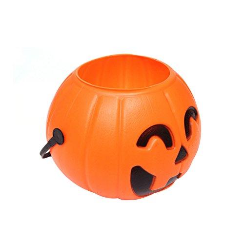 Tinksky Halloween Kürbis Eimer Süßigkeiten Eimer Halter Laterne Süßigkeiten Eimer Kürbis Süßigkeiten Eimer mit 1 LED Licht Größe M, (zufällige - Eimer Kunststoff Kürbis Halloween