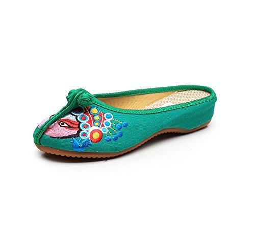 KAFEI La sig.ra ricamato scarpe di tela tendine di manzo fondo morbido fondi cool trascinare Home Green