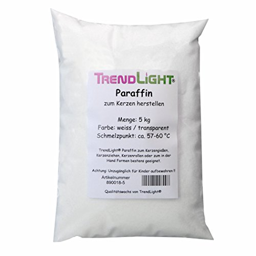 TrendLight 890018-5 Paraffin 5 kg - 100 % rein - Markenqualität Paraffinwachs - Kerzenwachs