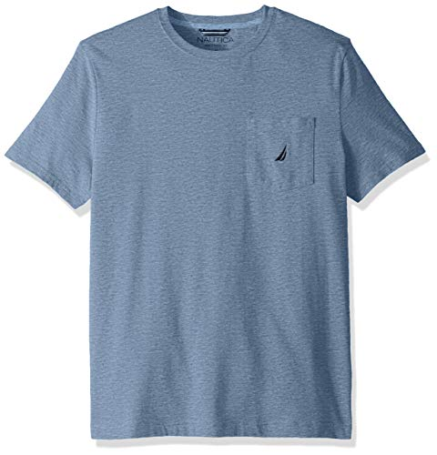 Nautica Herren Solid Crew Neck Short Sleeve Pocket T-Shirt, Deep Anchor Heather, Mittel -