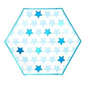 Neviti- Little Star Blue-Large Paper Plate-8 Pack Papel, Color azul, 27 x 27 x 0.5 (775479)