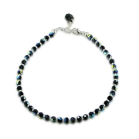 Schoener-SD, Bracelet de cheville en perles de cristal de Swarovski® scintillantes et fermoir en argent 925, couleur Jet Aurora Boreale, noir