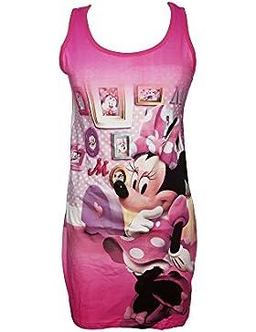 camici da notte donna spalla larga cotone MINNIE topolina disney art. 96108 (M, fuxia)