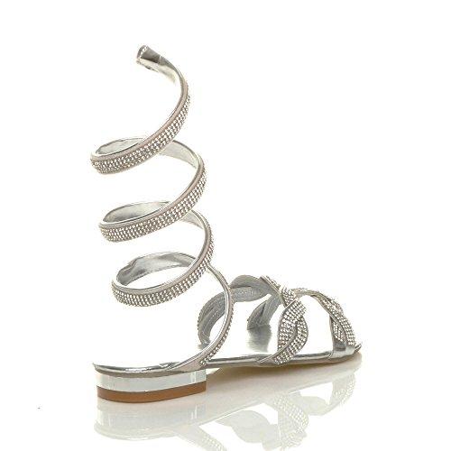Femmes diamante strass enrouler autour sangle de cheville sandale tongs pointure Argent
