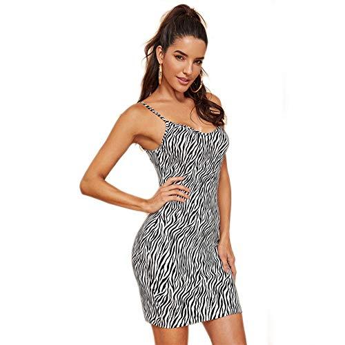 JJHR Kleider Animal Print Cami Dress Sleeveless Elegantes Damenkleid Club Schlank, Figurbetontes Minibügelkleid, Xs (Animal-print Cami)