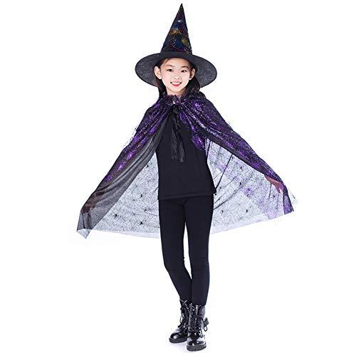 Sairis Gold Rot Lila Kinder Happy Halloween Magier Kostüm Set Wizard Hexe Umhang Cape Robe Und Hut Für Jungen Mädchen Geschenke - Magier Roben Kostüm