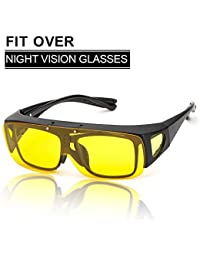 SIPHEW Night Sight Polarised Night Driving Over Glasses, Be Worn Over Prescription Eyewear, Wrap Around Yellow Sunglasses 100% UV400 Protection
