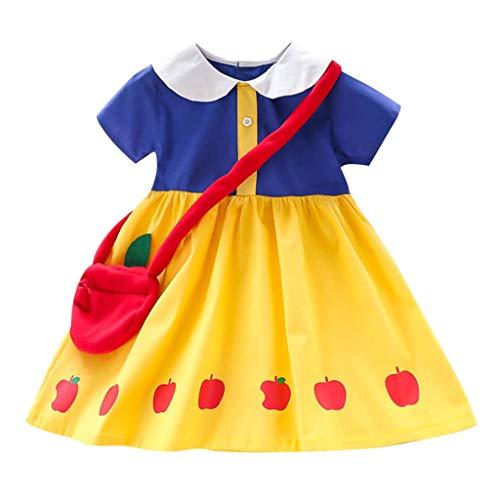 Pwtchenty Prinzessin Kleid Baby Sommerkleid Kurzarm Mädchen Kleider Festlich Apple Print Dress+ Tasche Outfits Set Apple-print-leggings