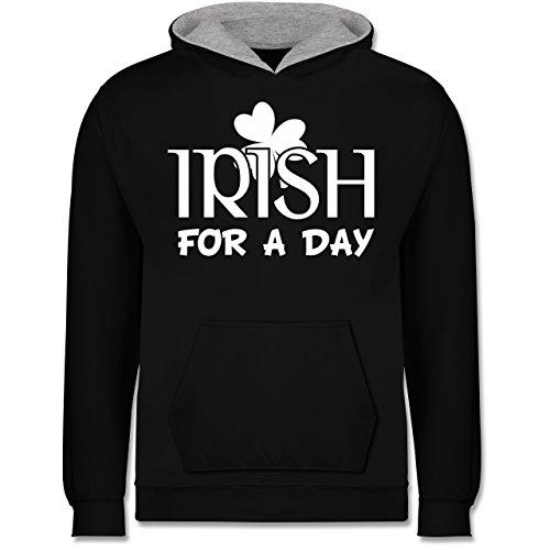 Anlässe Kinder - Irish for A Day St Patricks Day - 12-13 Jahre (152) - Schwarz/Grau meliert - JH003K - Kinder Kontrast Hoodie (Ideen Kostüm 13-jährigen)